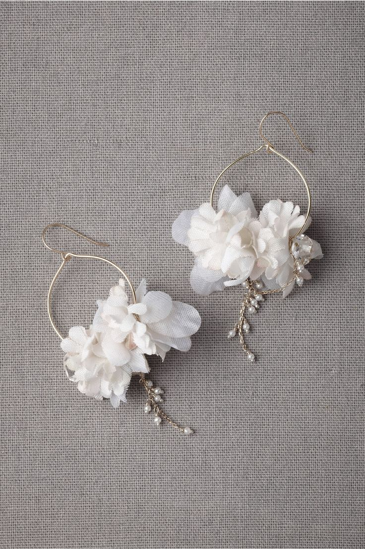 Natsuko Sakurai Ikebana Earrings from BHLDN: 18k gold, 10k gold chain, silk, cot…