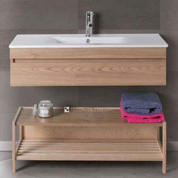 Detalle mueble de baño Luk-Cora 15 con bancada en tablero marino de 1 cajón de Verrochio