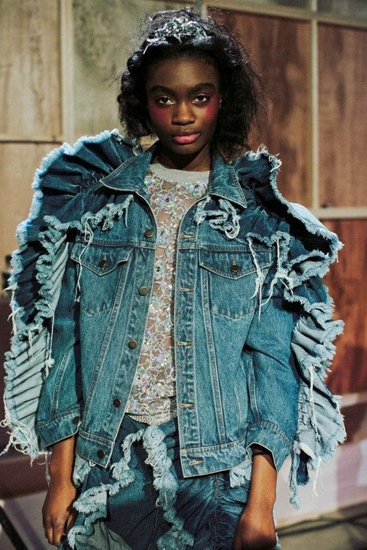 Exaggerated denim ruffles at Ashish AW14 LFW. photography by Lea Colombo. More images here: http://www.dazeddigital.com/fashion/article/18899/1/ashish-aw14