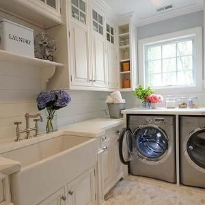 laundry/mud rooms - glazed white cabinets, farmhouse sink, apron sink