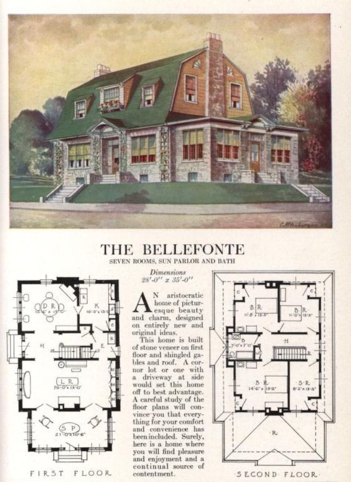 Pin By Lee Bucci On Early 20th Century Bungalow House Blueprints Vintage House Plans Dutch Colonial Homes