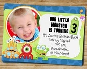 Printable Monster Birthday Invitation - photo optional - Customizable - Entire Birthday Package Available