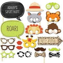 Set of 20 Fun Safari Jungle Animal Photo Booth Props on A Stick Baby Shower Kids First Birthday Party Decoration Centerpieces(China (Mainland))
