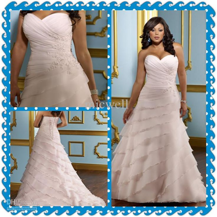 Awesome Wholesale Plus Size A line Sleeveless Sweetheart Sweep Tiers Pink Bridal Wedding Dresses