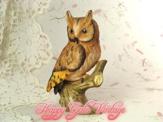 Vintage Hand Painted Ceramic Owl With Bird Figurine On Pumpkin