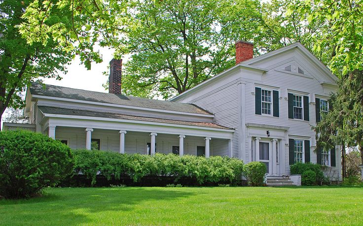 Greenmead Farms, Livonia, Michigan, includes the 1841 Greek Revival Simmons House, six other structures contributing to the historic nature of the property, & additional buildings moved from other locations. The 1841 farmhouse is a two-story, Greek Revival frame house with side gables & clapboard siding, sitting on a stone foundation. Drip molding surmounts the windows, & Ionic pilasters flank the front door. The interior has five fireplaces, & period 19th century woodwork