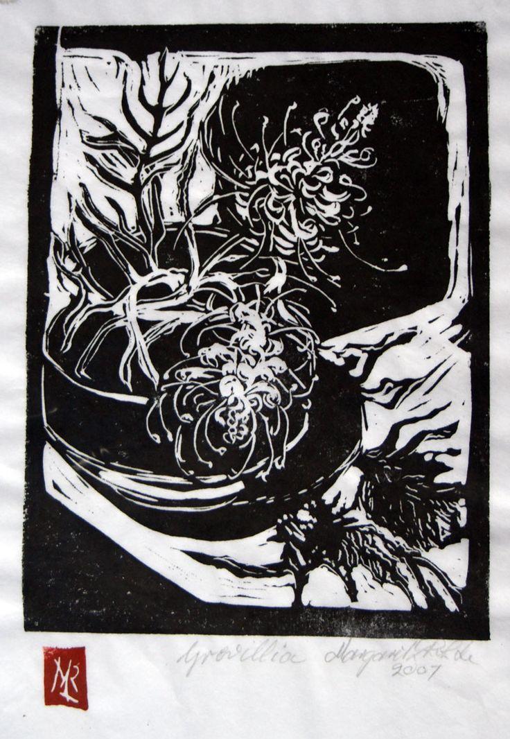 Margaret L Rohde ~ Grevillea lino cut