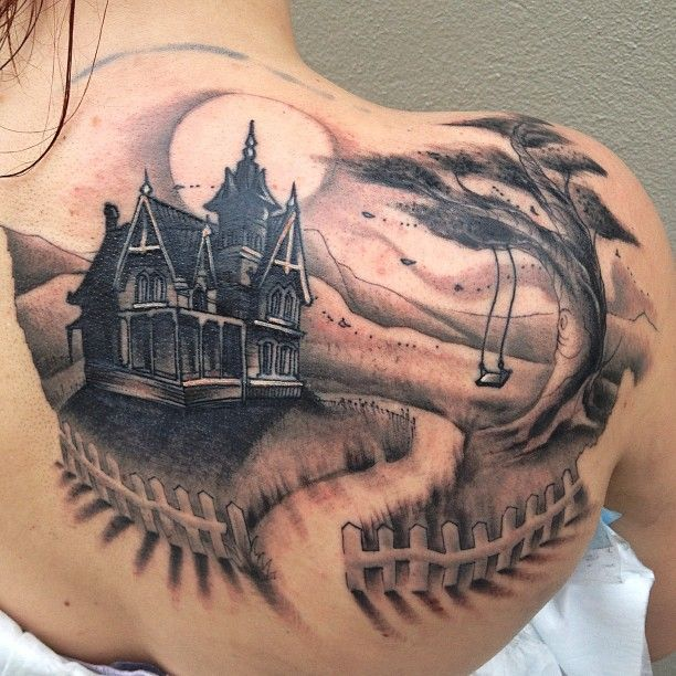 Creepy Haunted House Tattoo Pictures to Pin on Pinterest