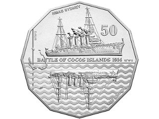 Battle of Cocos Islands 50c colour printed coin. Shortly after dawn on 9 November 1914, Australian troop transports and warships received the call that the German raider SMS Emden was lurking in the region of Port Refuge in the Cocos-Keeling Islands. The closest warship was the HMAS Sydney, which engaged in a protracted and blazing battle with the Emden. #coincollecting