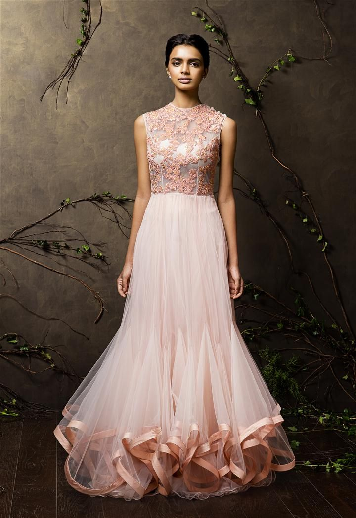 SHYAMAL & BHUMIKA A Little Romance Light Pink Top Embroidered #Gown.