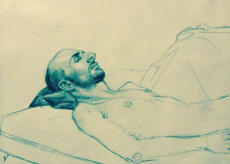 'Vladimir à l'oreiller', technique mixte sur papier par H. Craig HANNA