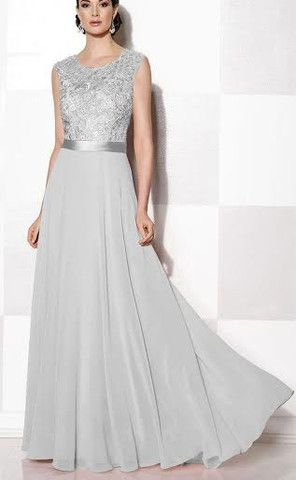 GRACE Lace Chiffon Dress - Silver Grey