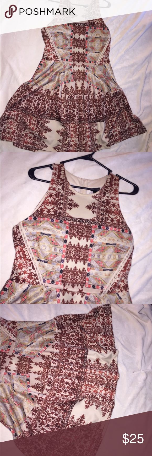 New Patterned Cream Party Dress Beautiful patterns. Perfect condition only worn once. Thick strong good material. Smooth almost silky. Flows at bottom fitting at top Mossimo Supply Co Dresses Midi