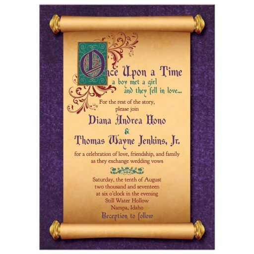 Fairy Tale Medieval Scroll Once Upon A Time Wedding Invitation With  Illuminated Text And Royal Purple