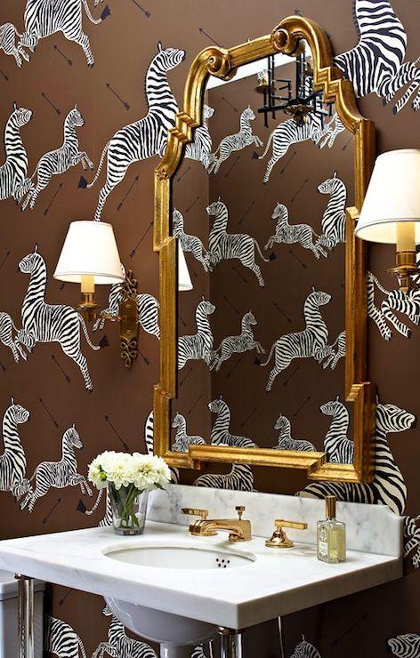 Massucco Warner Miller - bathrooms - Scalamandre Zebras - Zanzibar Wallpaper, vintage gold mirror, arched gilt mirror, gold vanity mirror, z...