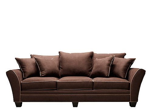 Perusing for the perfect sofa? Look no further than this attractive Briarwood microfiber sofa in chocolate with khaki welt. It will enrich your living room with its clean lines and dark wood. Plus, the sofa's 100% polyester microfiber fabric is perfect for families because it's soft, extremely stain resistant and easy to clean.