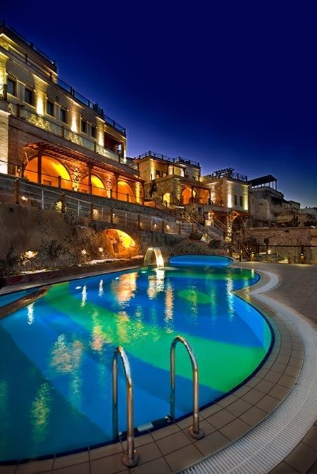 #Poolside #View of #Cappadocia #Cave #Resort & #Spa in #Uchisar, #Turkey. #KellyIrwinRutty is the the Head of #Production #PrestonBailey #Designs (www.prestonbailey...). She has helped to #Plan, #Design and #Execute some of the most #Lavish #Weddings and #Events in the world for a clientele that includes A-list #Celebrities #Athletes and #CEO's. Here she shares a bit of her #Inspiration. @KellyIrwinDesigns