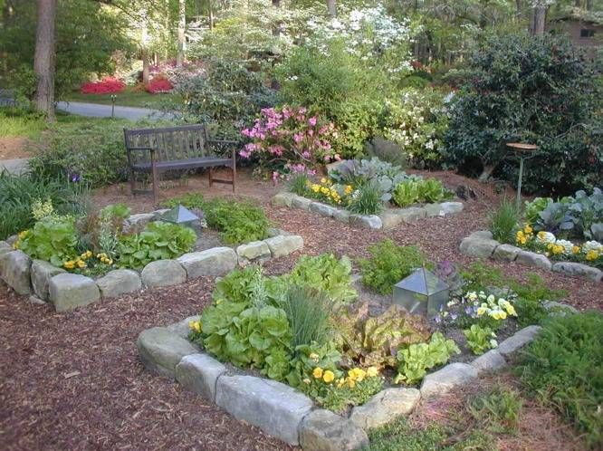 Pictures of Arbors with planter boxes on sides | Stone wall border vegetable garden parterre