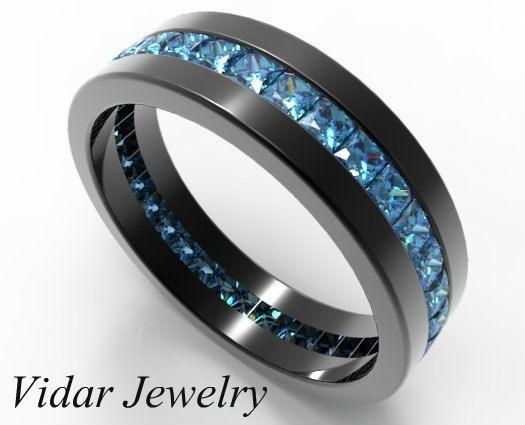 Black Gold Princess Cut Blue Diamond Wedding Band For Men