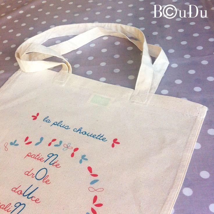 tote bag nounou, sac nounou, merci, fin d'année, cadeau, idée cadeau nounou, fleurs, super nounou, boudu, bouduboudu.com