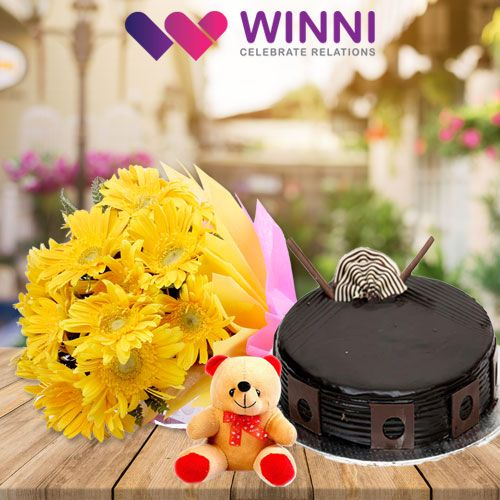A gift of #cake and #flowers is the best way to show your love to your loved ones. Send your wishes and blessings to your loved ones by ordering this stunning #combo from #Winni