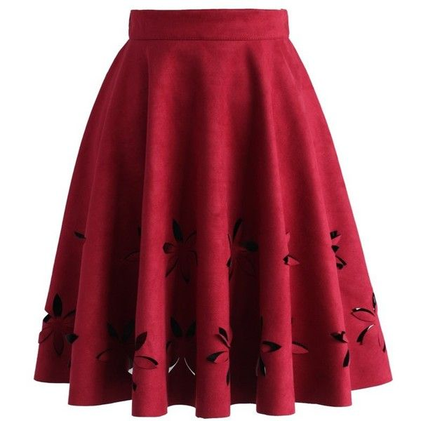 Chicwish Dancing Flower Cutout Suede A-line Skirt in Wine ($42) ❤ liked on Polyvore featuring skirts et red