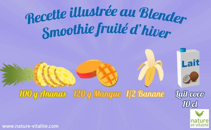 smoothie fruité d'hiver. Ingrédients : 100 g d'ananas, 120 g de mangue; 1/2 banane et 10 cl de lait de coco ou d'amande.