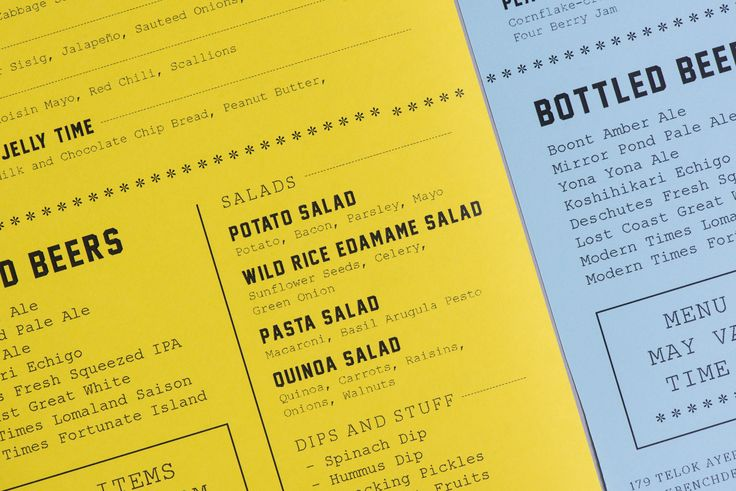Brand identity and menus by Foreign Policy for Singapore's Park Bench Deli