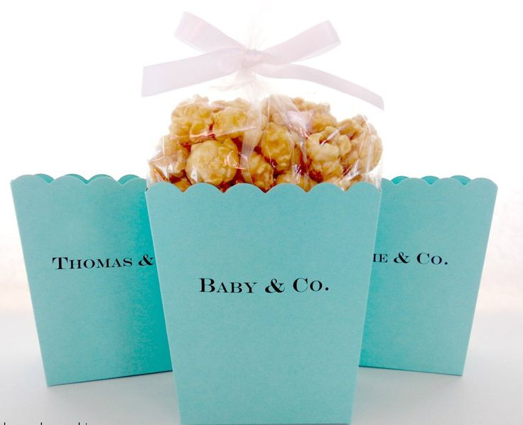 Personalized Popcorn Favor Boxes #Aqua #audrey-hepburn #baby-&-co