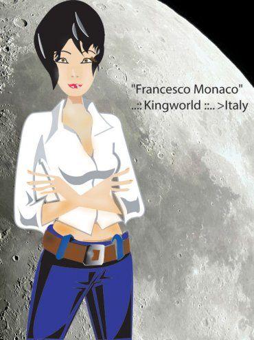 Woman in vectorial illustrazione di una donna con sfondo fotografico 2d della luna.