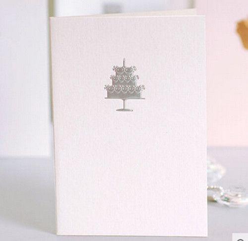 Серебряный Торт Ко Дню Рождения С Белым Фоном И Мульти Дизайн Складной Универсальный бумаги открытка Рождественский подарок 1511