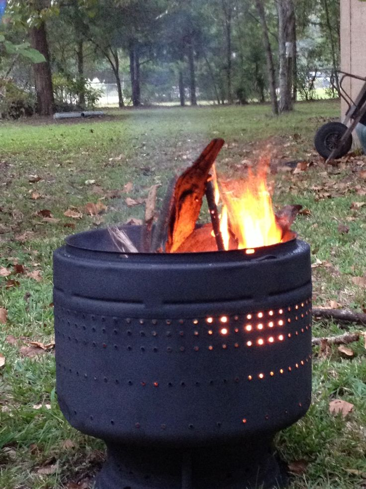 fire pit made from old washing machine drum works great