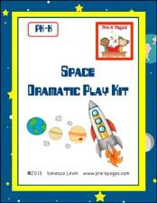 Dramatic Play Printable Space Center for preschool or kindergarten via www.pre-kpages.com