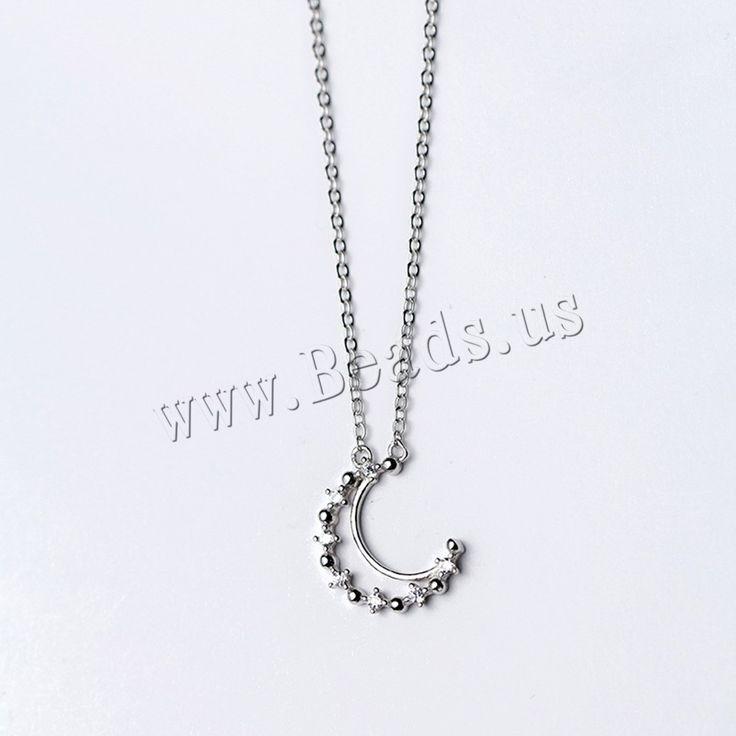 Collares de Plata Esterlina, plata de ley 925, con 1.5lnch extender cadena, Luna, cadena oval   para mujer   con diamantes de imitación Vendido para aproximado 16 Inch Sarta,Abalorios de joyería por mayor de China