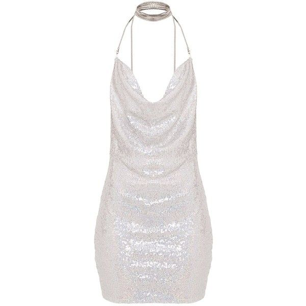 Tarria Silver Sequin Chain Choker Mini Dress ($53) ❤ liked on Polyvore featuring dresses, white color dress, silver dress, short sequin dress, silver sequin embellished dress and white mini dress