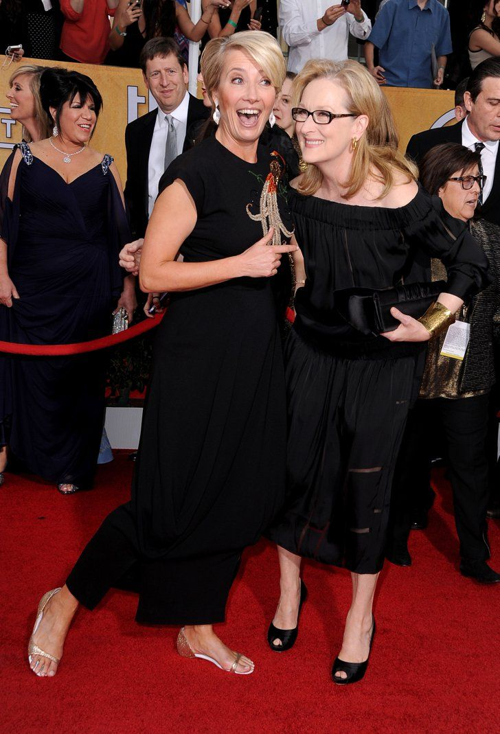 Pin for Later: The Hands-Down Cutest Red Carpet Pictures of 2014 Emma Thompson and Meryl Streep Let Loose at the SAG Awards