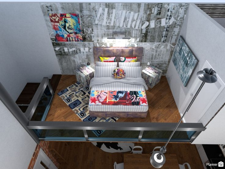Loft Bedroom Design. Coca Cola Colours And Images Look Really Cool In Here.  A