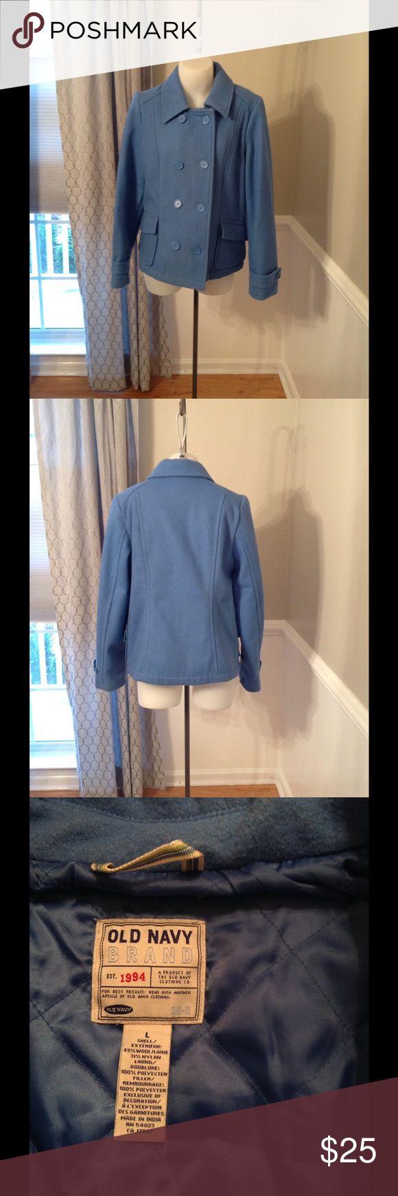Old Navy Pea Coat Great periwinkle blue pea coat size L Old Navy Jackets & Coats Pea Coats