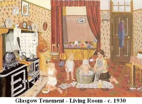 An old Glasgow Tenement. 1930 A LOT OF PEOPLE HAD A BED IN THE ALCOVE IN THE KITCHEN  MY GRANNY HAD ONE