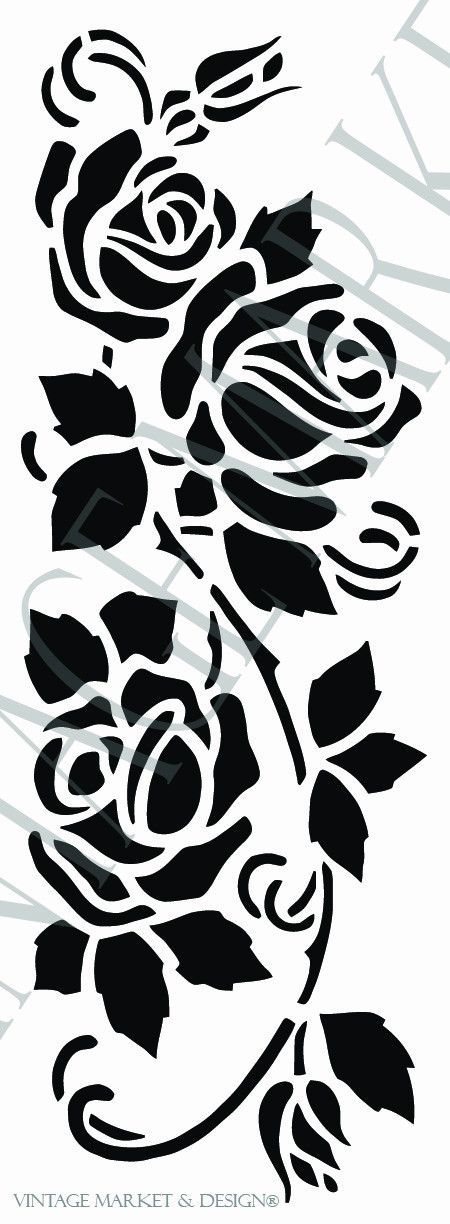 "Cottage Rose Vine Stencil-9876 Image Dimensions: 12.0"" x 4.2"" Overall Dimensions: 13.5"" x 5.7"" **NOTE: Watermark will not show on your stencil"