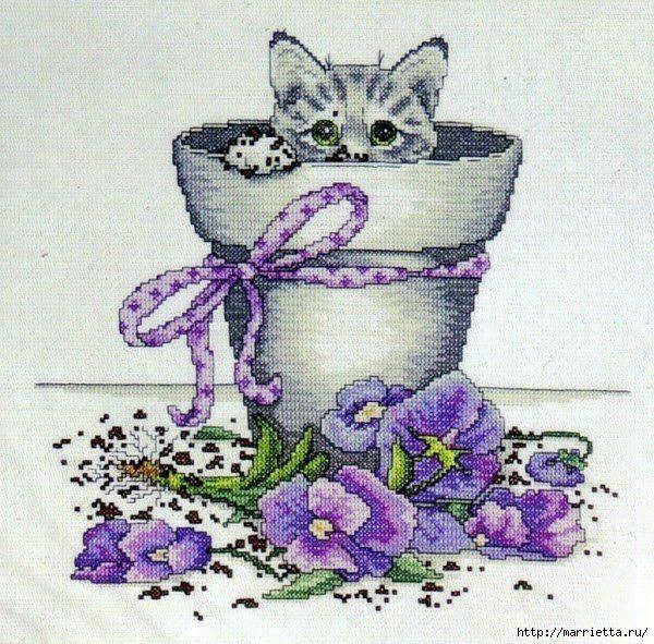 Esquema de Bordado - gatito en maceta