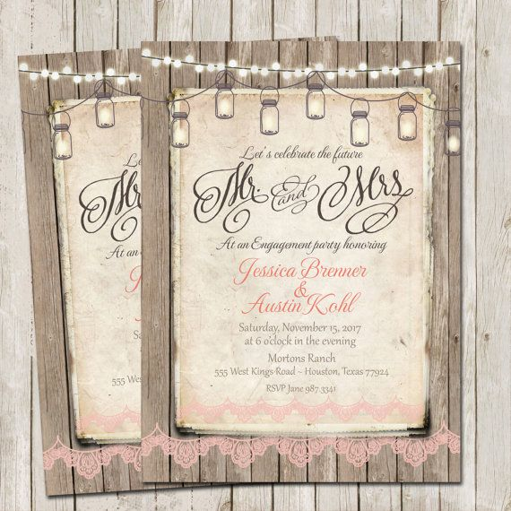 Rustic Engagement Party Invitation Rustic Wood by WallflowerEvents