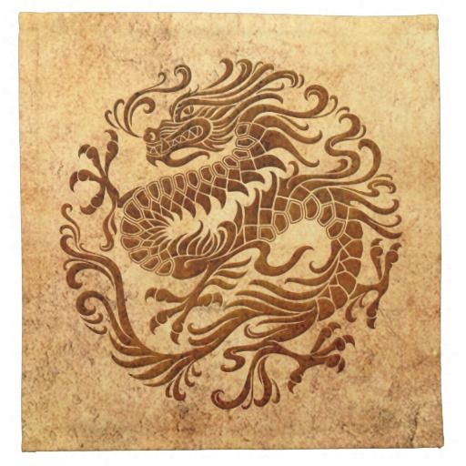 Traditional Vintage and Worn Chinese Dragon Circle Cloth Napkin