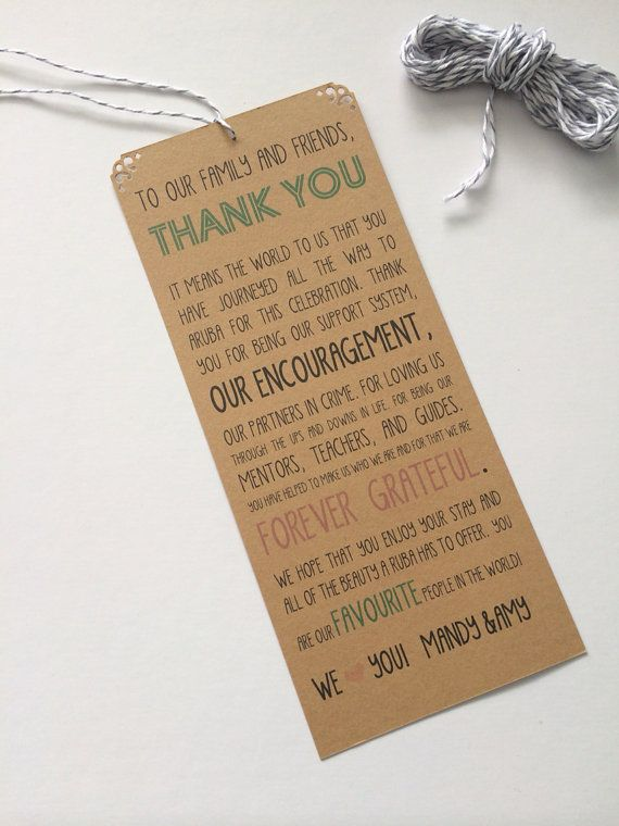 17 Best images about Wedding Welcome Bags – Destination Wedding Thank You Card Wording