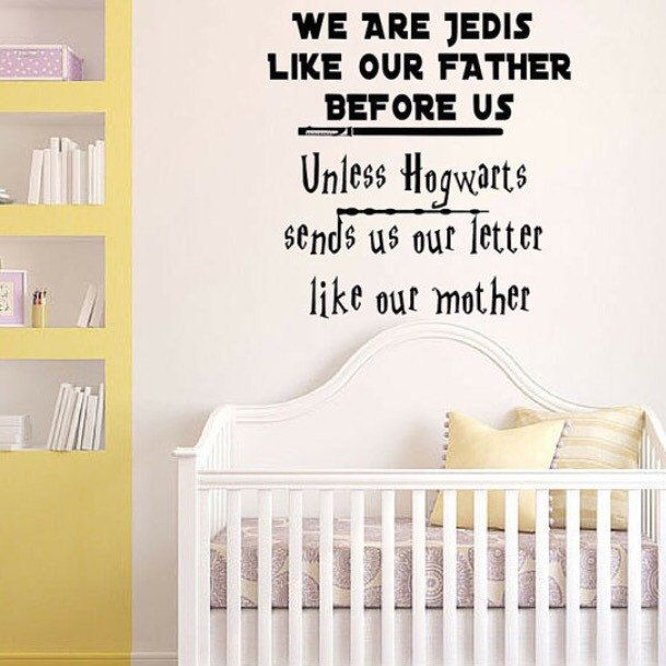 Star Wars Harry Potter Wall Vinyl Decal FOR 2 KIDS I Am A Jedi Like My  Father Before Me Unless Hogwarts Sends My Letter Baby Room