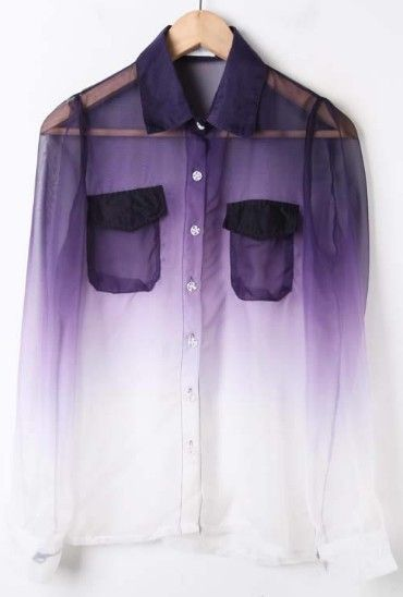 Purple gradient sheer blouse.Blouses, Fashion, Purple, Style, Shirts, Clothing, Leather Boots, Dips Dyes, Ties Dyes
