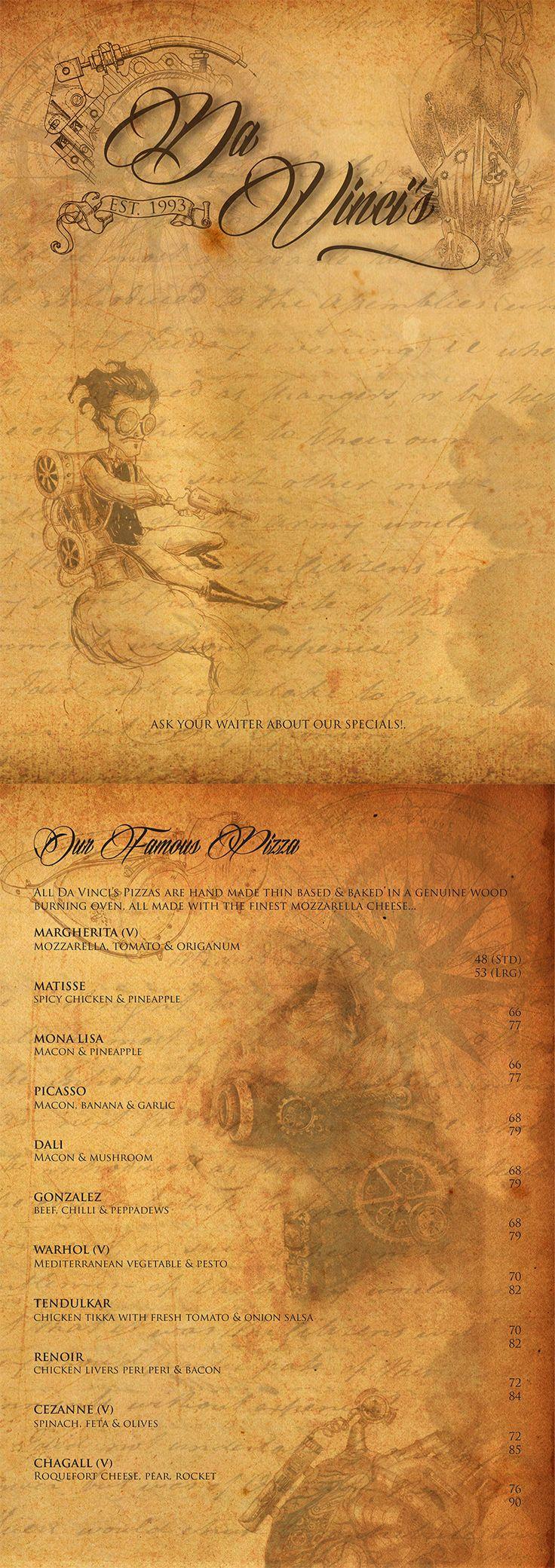 Class: 1 Year Print Design & Publishing || Name: Tashreeq Barday || Year: 2013 || Recreate your favorite restaurants menu. http://friendsofdesign.net/1-year-print-design-publishing
