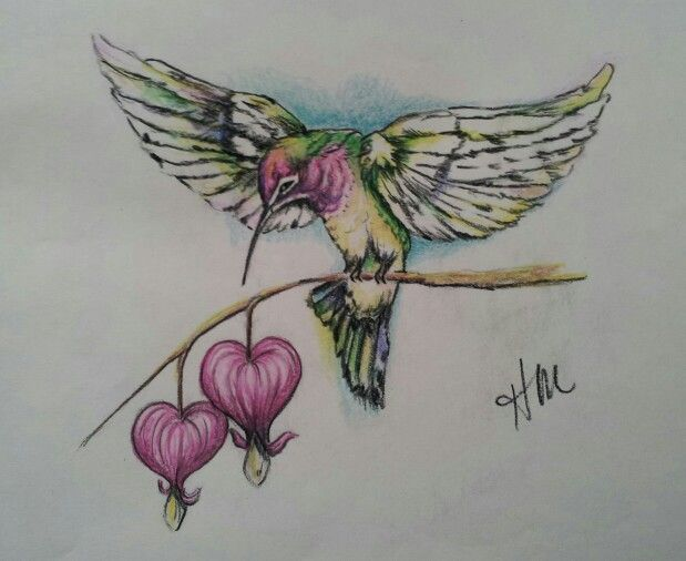 Original drawing for memorial tattoo. Humming bird and bleeding hearts.