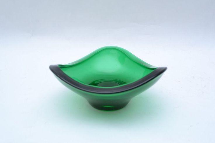 Czech Mid century 'Harlequin' green glass tricorn bowl designed by Vaclav Hanus | eBay
