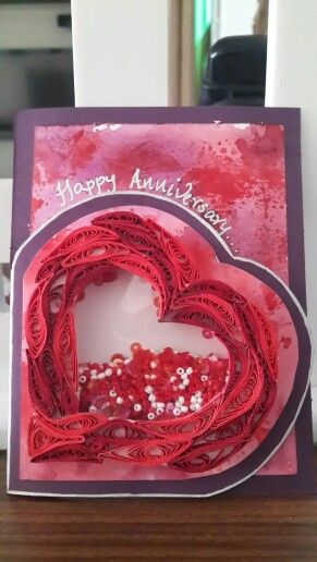 Shaker + quilling + distress ink anniversary card...